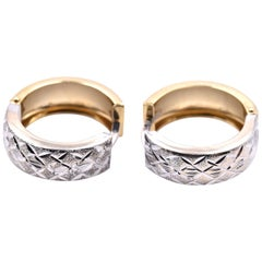 14 Karat Yellow and White Gold Diamond Cut Huggie Earrings