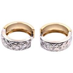 14 Karat Yellow and White Gold Diamond Cut Huggie Earrings