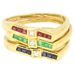 14 Karat Yellow Gold 0.16 Carat Multi-Gem with Diamonds Three Ring Set