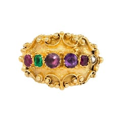 """Late Georgian Gold """"REGARD"""" Ring with Granulated Decoration"""