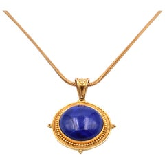 22 Karat Yellow Gold Lapis Necklace