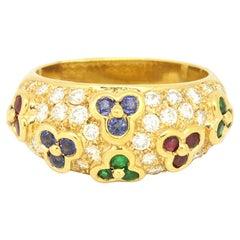 18 Karat Yellow Gold 1.56 Carat Sapphire, Ruby, Emerald and Diamonds Dome Ring