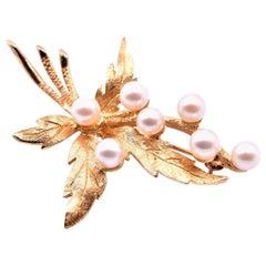 FF Fleeger Vintage 14 Karat Yellow Gold Pearl Pin
