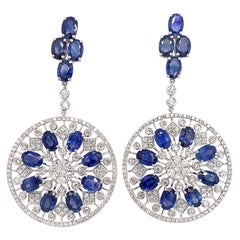 Ruchi New York Blue Sapphire and Diamond Chandelier Earrings