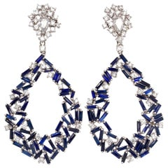 Ruchi New York Sapphire Baguette and Diamond Chandelier Earrings