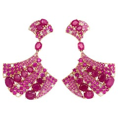 Ruchi New York Ruby and Pink Sapphire Fan Chandelier Earrings