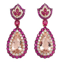 Ruchi New York Morganite and Ruby Drop Earrings
