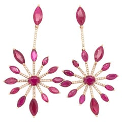 Ruchi New York Ruby Chandelier Earrings