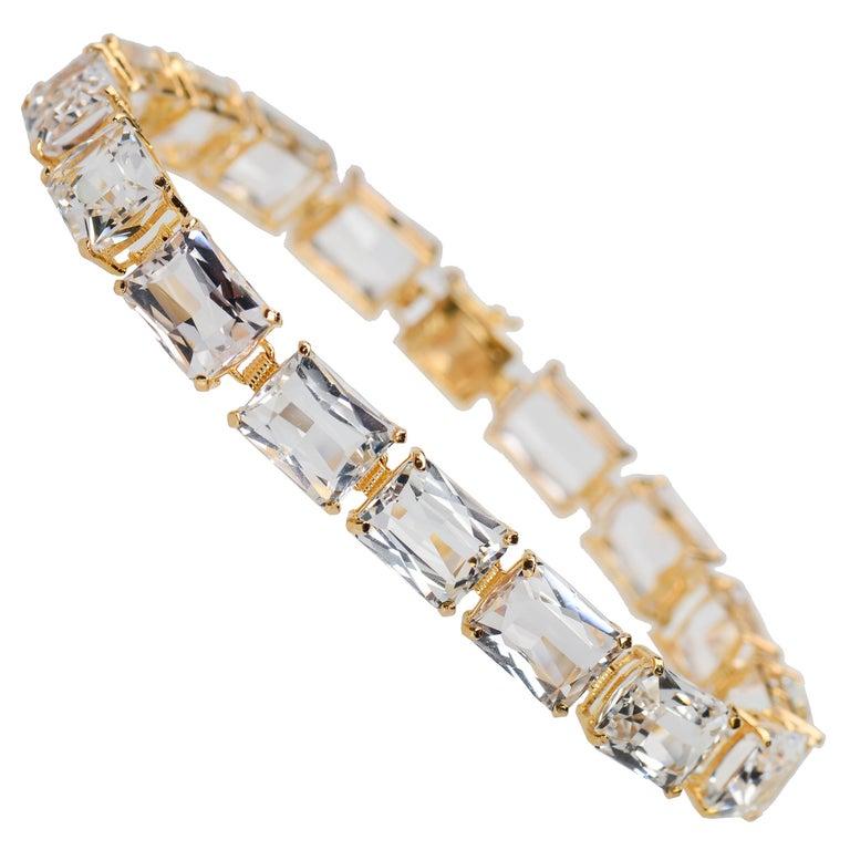 Vintage Estate Rock Crystal Bracelet For Sale