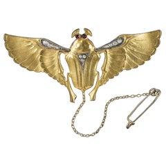 Antique Art Nouveau Garnet Paste Silver Gold Gilt Scarab Beetle Brooch