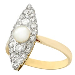 Antique 1920s Pearl and Diamond Yellow Gold Cocktail Ring
