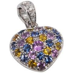 18 Karat WG Multi-Color Saapphires and Diamonds Heart Shape Garavelli Pendant