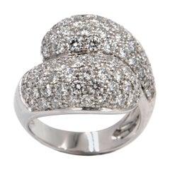 18 Karat White Gold White Diamonds Pavè Contrarier Garavelli Ring