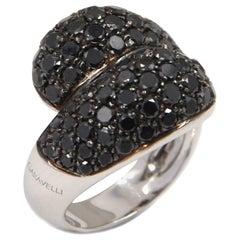 18 Karat White Gold Black Diamonds Pavè Contrarier Garavelli Ring