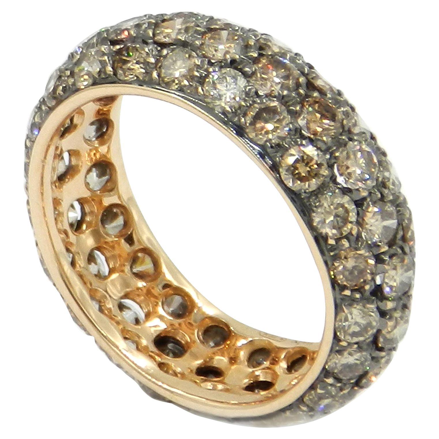 18 Karat Yellow Gold Brown Diamonds Eternal Garavelli Band Ring
