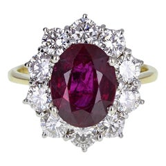 Vintage Oval Ruby Diamond Cluster Cocktail Ring