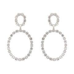 Ileana Makri 18k white gold Baguette Diamond Again Earrings