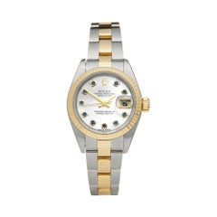 Rolex Datejust 26 Mother of Pearl Sapphire Dial Steel and Yellow Gold 79173