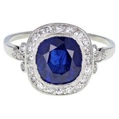 Certificated Untreated Burma Sapphire Diamond Antique Platinum Cluster Ring