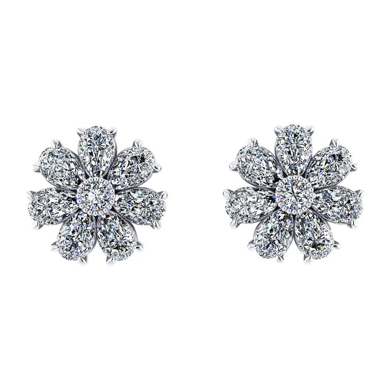 1.65 Carat Pear Shape Diamond Flower Earring Studs in Platinum 950 For Sale