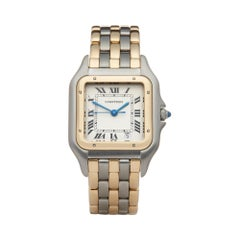 Cartier Panthere De Cartier Three Row Stainless Steel 18K Yellow Gold W25028B