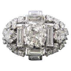 Vintage Rectangular Cushion Cut Baguette Diamond Platinum Ring