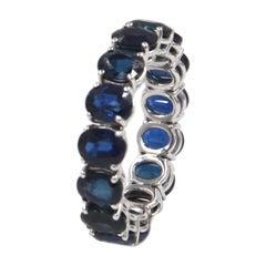 18 Karat White Gold Oval Blue Sapphires Garavelli Band Eternal Ring