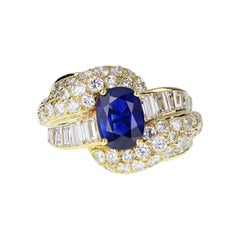 French Sapphire Diamond Retro Vintage 18 Carat Gold Cocktail Ring