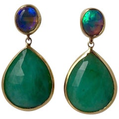 Emerald and Black Opal Drop Earring 18 Karat Gold
