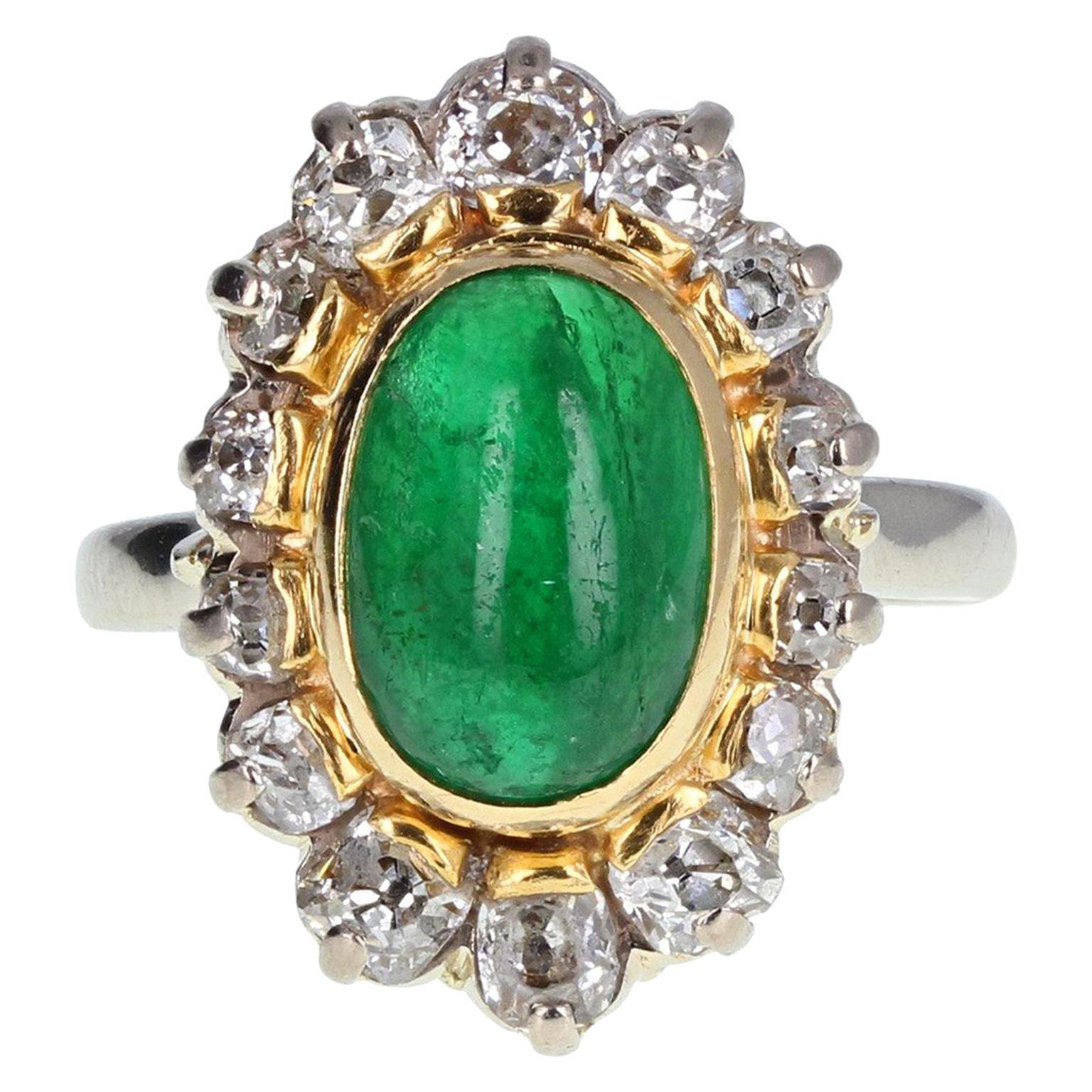 1950s Cabochon Emerald Diamond Cluster Ring