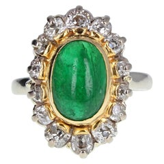 1950s Cabochon Emerald Diamond Cluster Ring