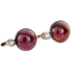 Cabochon Garnet and Old European Cut Diamond Earrings
