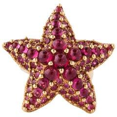 Pomellato Rhodolite Garnet Gold Starfish Ring