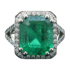 6.14 Carat GRS Certified Colombian Emerald Diamond Platinum Ring
