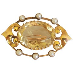Antique Art Nouveau Citrine Pearl Gold Brooch