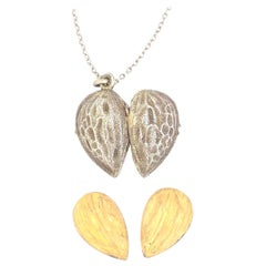 Antique Victorian Silver Almond Locket Pendant on Silver Chain Necklace