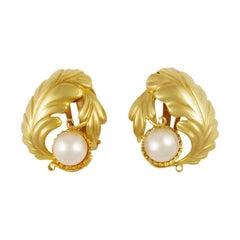 Large Vintage Georg Jensen Gold Earrings #55 Pearls