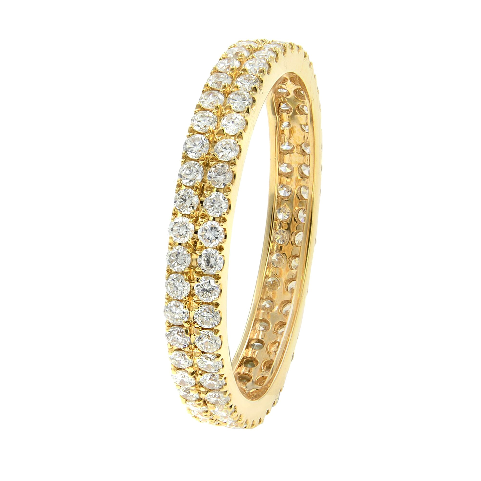 18K Yellow Gold Double Row Scoop Micro Pave Round Diamond Eternity Band 0.61cts