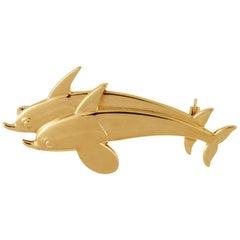 Georg Jensen Gold Dolphin Brooch #370 by Arno Malinowski