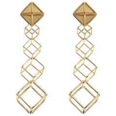 Valentin Magro Cushion Cube Dangling Earrings in Yellow Gold