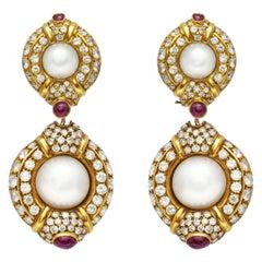 Pearl Diamond Ruby Earrings