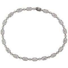 9.99 Carat Emerald Cut Cluster Diamond Necklace