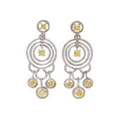 Graff Diamonds 18 Karat White Gold Fancy Yellow & White Diamond Dress Earrings
