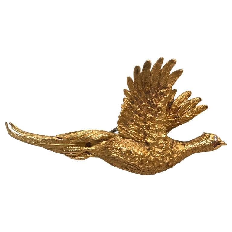 Mauboussin Pheasant Brooch Yellow Gold 18 Carat and Diamond Eye Pin For Sale
