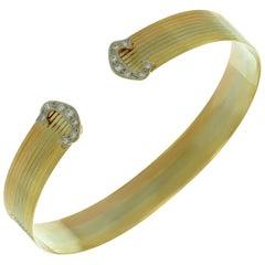 Vintage Diamond 18 Karat Tri Color Gold Cuff Bracelet