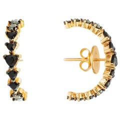 18 Karat Rose Gold and 1.30 Carat Black Diamonds Curve Earrings, Alessa Jewelry