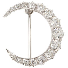 Tiffany & Co. Platinum Diamond Crescent Vintage Moon Brooch