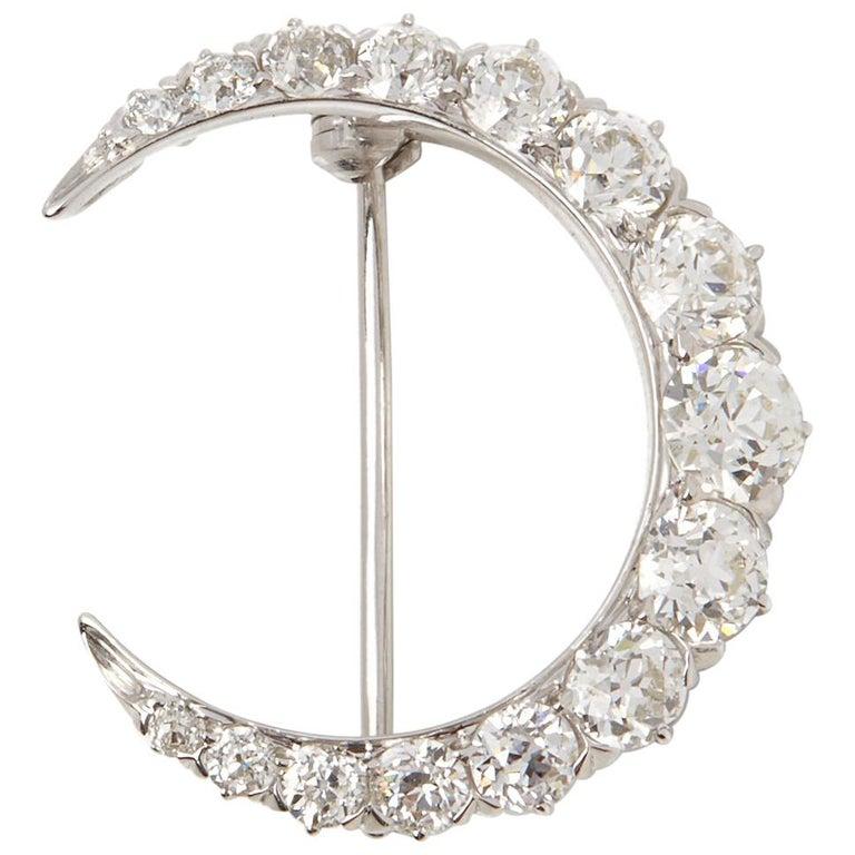 Tiffany & Co. Platinum Diamond Crescent Vintage Moon Brooch For Sale