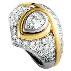 Bulgari Diamond Pavé Platinum and Yellow Gold Band Ring