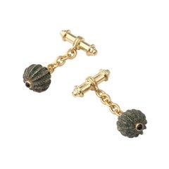 18 Carat Yellow Gold Vermeil, Verdigris Brass and Onyx Anemone Chain Cufflinks